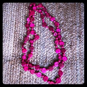 Jewelry - 💕Hot pink round beaded long strand necklace